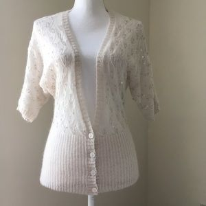 LOFT Beaded Mohair Lace Cardigan SP